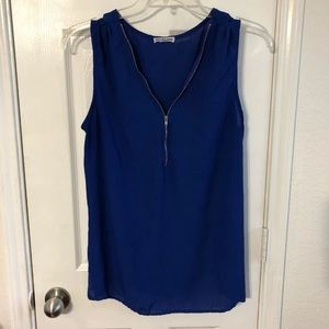Blue tank with zipper XL